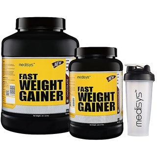 Medisys Fast Weight Gainer Chocolate 3Kg+2Kg 5Kg Pack with Free Shaker