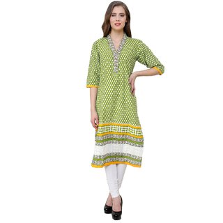 Ritzzy Creations Green Printed Cotton Stitched Kurti