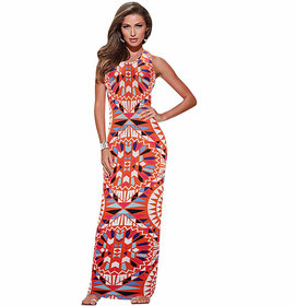 Modo Vivendi Womens Summer Maxi Dress Bodycon Party Dresses  Printed Slim Vestidos Sleeveless Dashiki Boho Long Dress