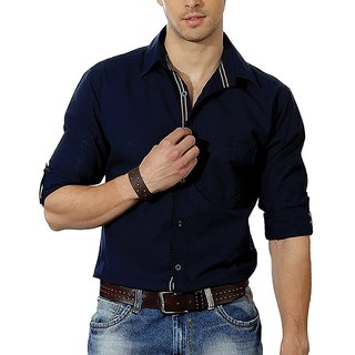 MID Fashion Clib Men's Solid Casual Dark Blue Shirt