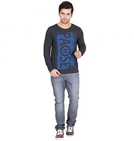 PAUSE Charcoal Textured Full Sleeve Round Neck Tee