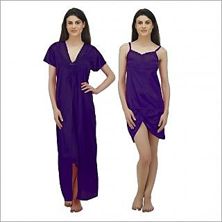 Buy Arlopa 3 Pieces Nightwear in Satin Robe with Top and shorts ... 4b224f65e