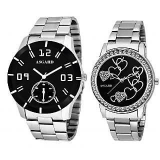 Asgard Silver Chain Couple Watches For Men  Women