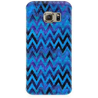 RAYITE Blue Chevron Pattern Premium Printed Mobile Back Case Cover For Samsung S7