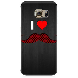 RAYITE I Love Moustache Premium Printed Mobile Back Case Cover For Samsung S6 Edge G9250