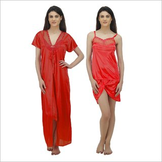 Arlopa 3 Pieces Nightwear in Satin Robe with Top and shorts