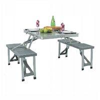 Aluminium Picnic Wicker  Rattan Rectangle Folding Table Multicolor