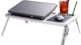 E Table - Foldable Stand High Quality Table With 2 USB Cooling Fans Multipurpose Adjustable Table + Free Aluma wallet
