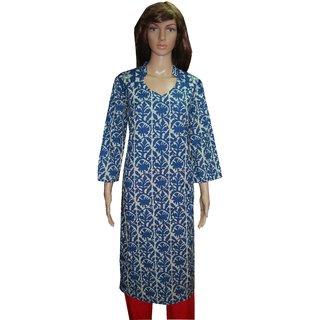 Anjalika Creations Semi Stitched Cotton Women Indigo Kurta