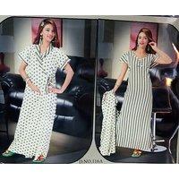 Hot Sleep Wear 2p Nighty  Over Coat Women Bed Lounge Wear Slip Fun 116A Stripes