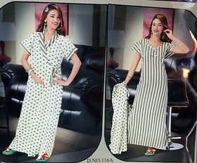 Hot Sleep Wear 2p Nighty  Over Coat Women Bed Lounge Wear Slip Fun 116A Stripes