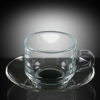 Ocean Glassware - Stack Tea set -  6 cups and 6 saucers(Cup 200 Ml each)