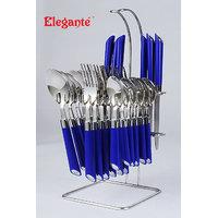 Elegante Classic Blue Stainless Steel Cutlery Set - 25 Pcs