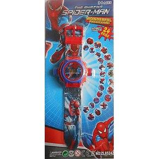Funkydealz Spiderman Watch 10 With Image Projector Watch Gift Toy For Kids, Best Birthday Gift