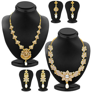 Sukkhi Sparkling Gold Plated AD Set of 2 Necklace Set Combo For Women