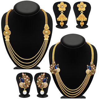 Sukkhi Gold Plated Bridal/Wedding 2 Necklace + 4 Earring For Women