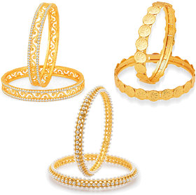 Sukkhi Angelic Laxmi Temple Coin Gold Plated AD Set of 3 Pair Bangle Combo For Women