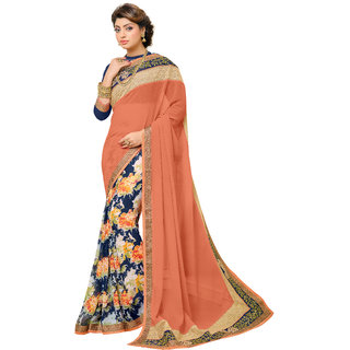 Bahubali Orange Georgette Embroidered Saree Without Blouse
