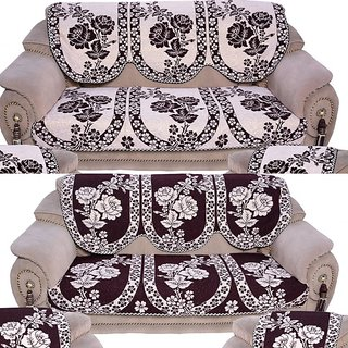 Reversable Cofee Cotton 6 Piece Sofa Cover with Attractive Colour and Floral Design along with Chair cover by Vivek Home