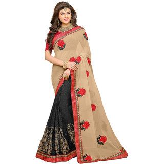 Bahubali Khaki Georgette Embroidered Saree Without Blouse