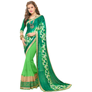 Bahubali Green Georgette Embroidered Saree Without Blouse