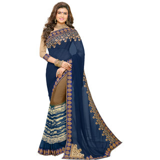 Bahubali Navy Georgette Embroidered Saree Without Blouse