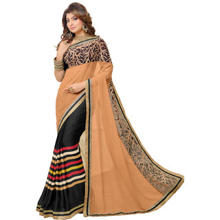 Bahubali Beige Georgette Embroidered Saree Without Blouse