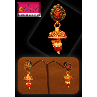 Gold Plated Red Stone And Green Stone Studded Earring