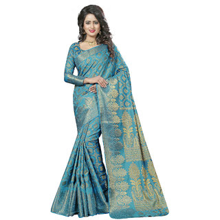 Triveni Blue Jacquard Plain Saree With Blouse