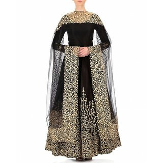 Style Amaze Black Taffeta Embroidered Semi Stitched Gown