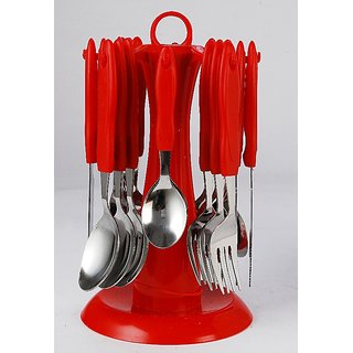 Elegante Signature cherry Look Cutlery Set - 24 Pcs With Stand