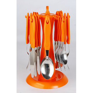 Elegante Signature Orange Look Cutlery Set - 24 Pcs With Stand