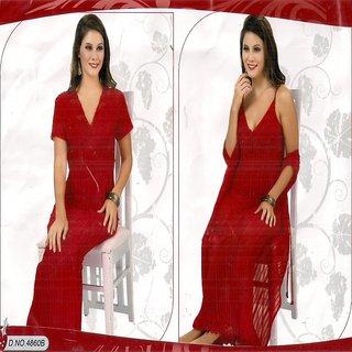Buy Sheer Sleep Set 2pc Nighty Over Coat New Long Night Dress 4860B Red Night  Dress Bed Lounge Wear Wedding Gift Online   ₹1890 from ShopClues 6c9cb7598