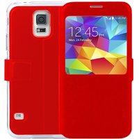 BT Flip Case With Big Windows for Samsung Galaxy S5 RED