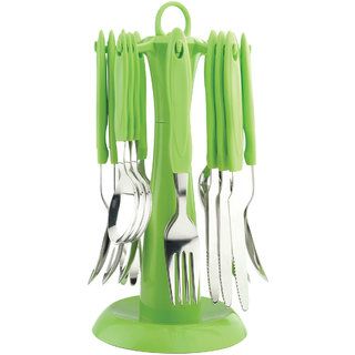 Elegante Signature Green Cutlery Set - 24 Pcs with Stand