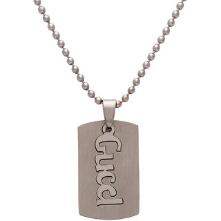 Memoir  Silver Stainless Steel Non Plated Pendant With Chain Only For Unisex