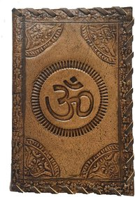Handmade Om Print Leather Cover diary with sallu silai (6x4 inch)