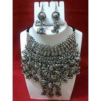 Silver Pendant Statement Necklace  Drop Earrings For Women