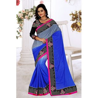 Sareeka Sarees Blue Satin Self Design Saree With Blouse