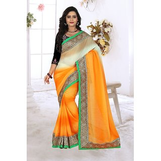 Sareeka Sarees Yellow Satin Self Design Saree With Blouse