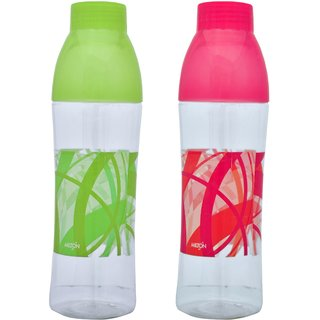 Kudos Fridge School Gym Office Plastic Water Bottle With Glass Cup Cap ( pack of 2 )