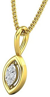Jewel Hub Certified Diamond Sparkling Pendant 0.02 ct / 0.38gm 18k Gold-JPT1854