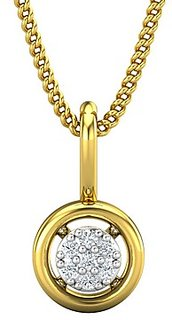 Jewel Hub Certified Diamond Sparkling Pendant 0.03 ct / 0.45gm 18k Yellow Gold