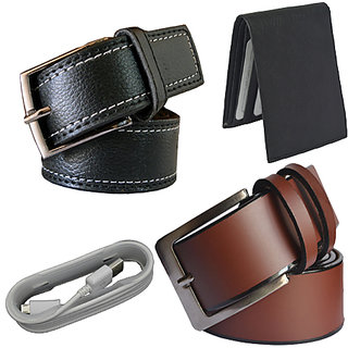 Ws deal men leatherlite  black and brown pin point buckle belt black wallet and usb cable only for charging (combo of 4)