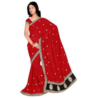 Sareeka Sarees Red Georgette Self Design Saree With Blouse