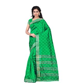 Aradhya Fashion Designer Jacquard Cotton Green Sari
