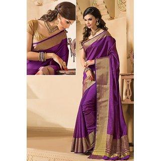 4Tigers Purple Art Silk Self Design Saree With Blouse