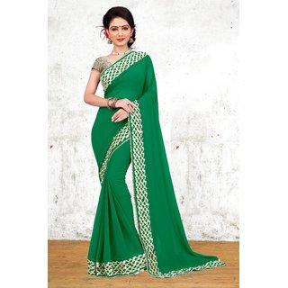 Aradhya Fashion Women's Embroidered + Mirror Work Georgette Green Saree
