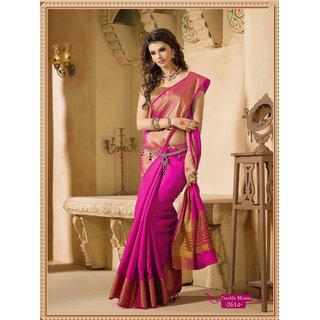 4Tigers Pink Art Silk Self Design Saree With Blouse