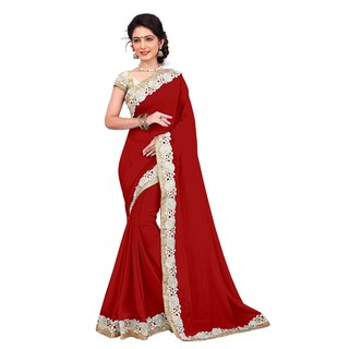 Aradhya Fashion Designer Embroidered Georgette Maroon Saree